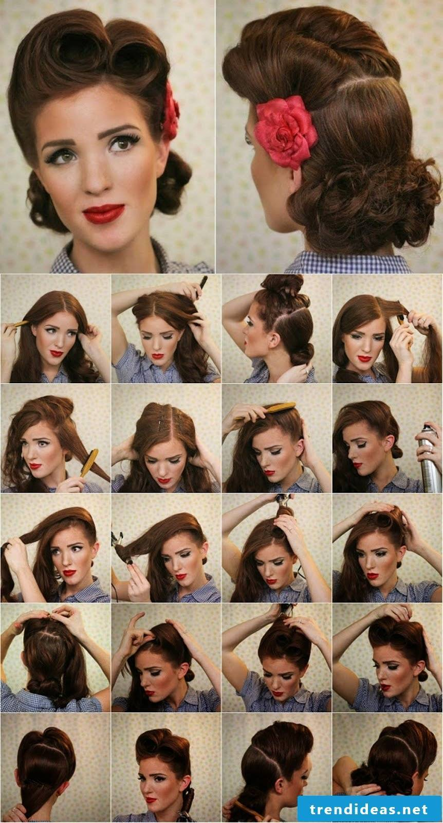Photo tutorials for hairstyles in the typical Rockabilly style