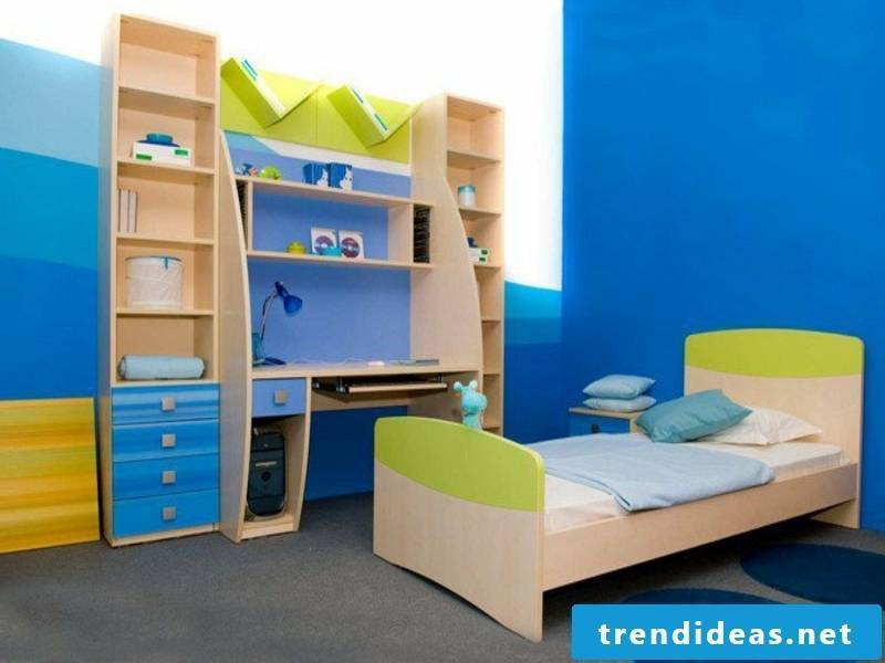 modern blue shades in the boy's room