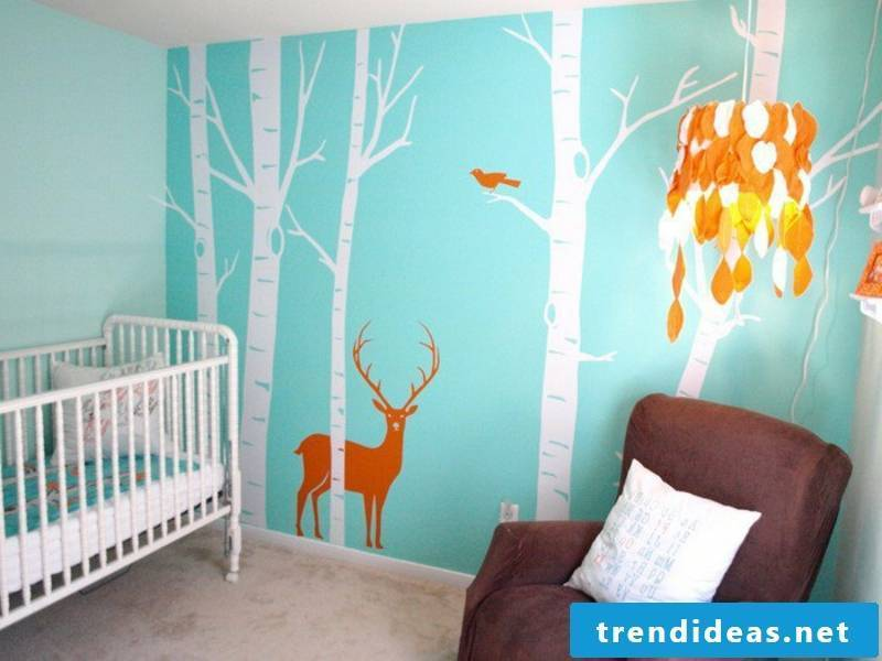 beautiful wall painting in the nursery