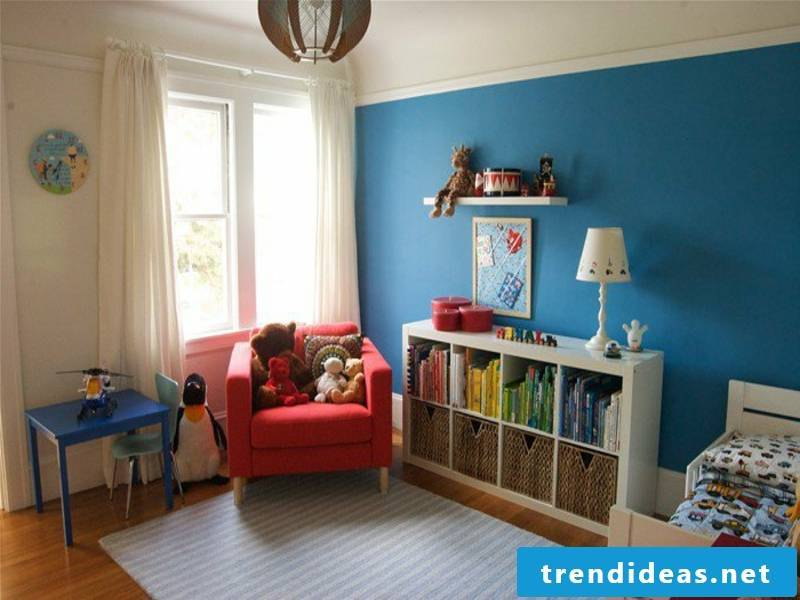 beige and blue color scheme in the nursery