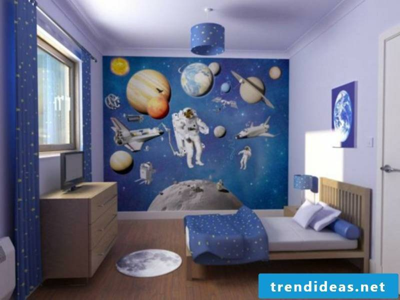 blue and purple in the boy's room