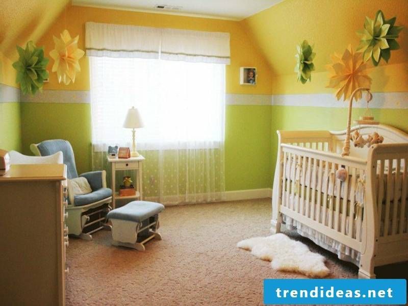 yellow-green color scheme in the nursery