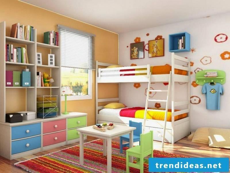 Girl's room with white-orange color scheme