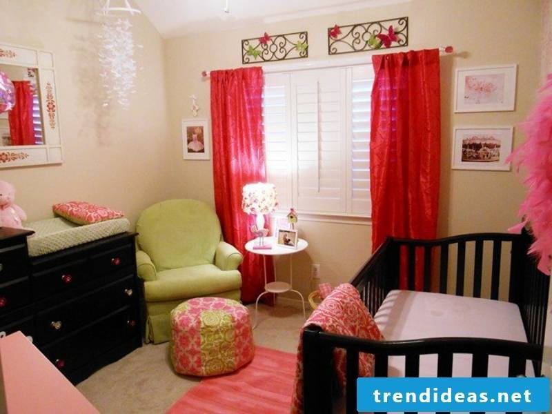 Modern red curtains in the kids room