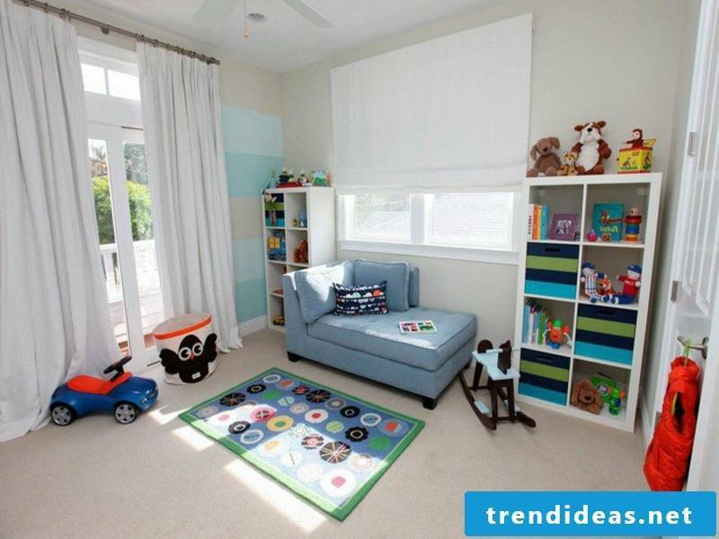 white walls in the boy's room