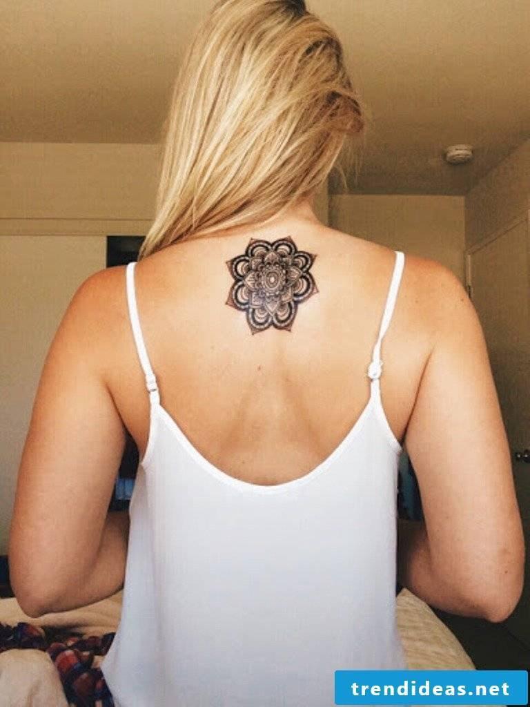 Mandala tattoo back women