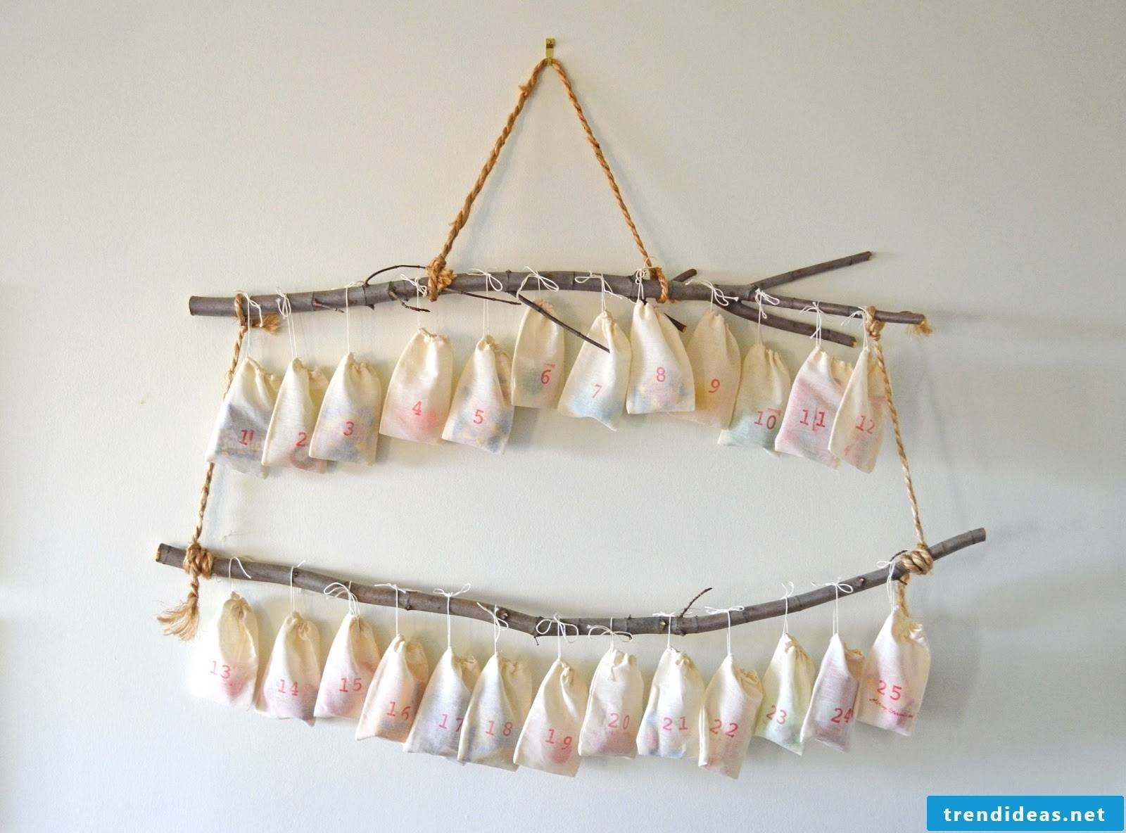 Hanging advent calendar made of small fabric bags