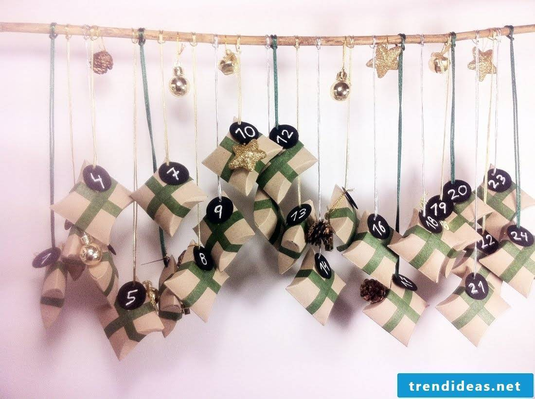 Advent calendar from toilet paper rolls