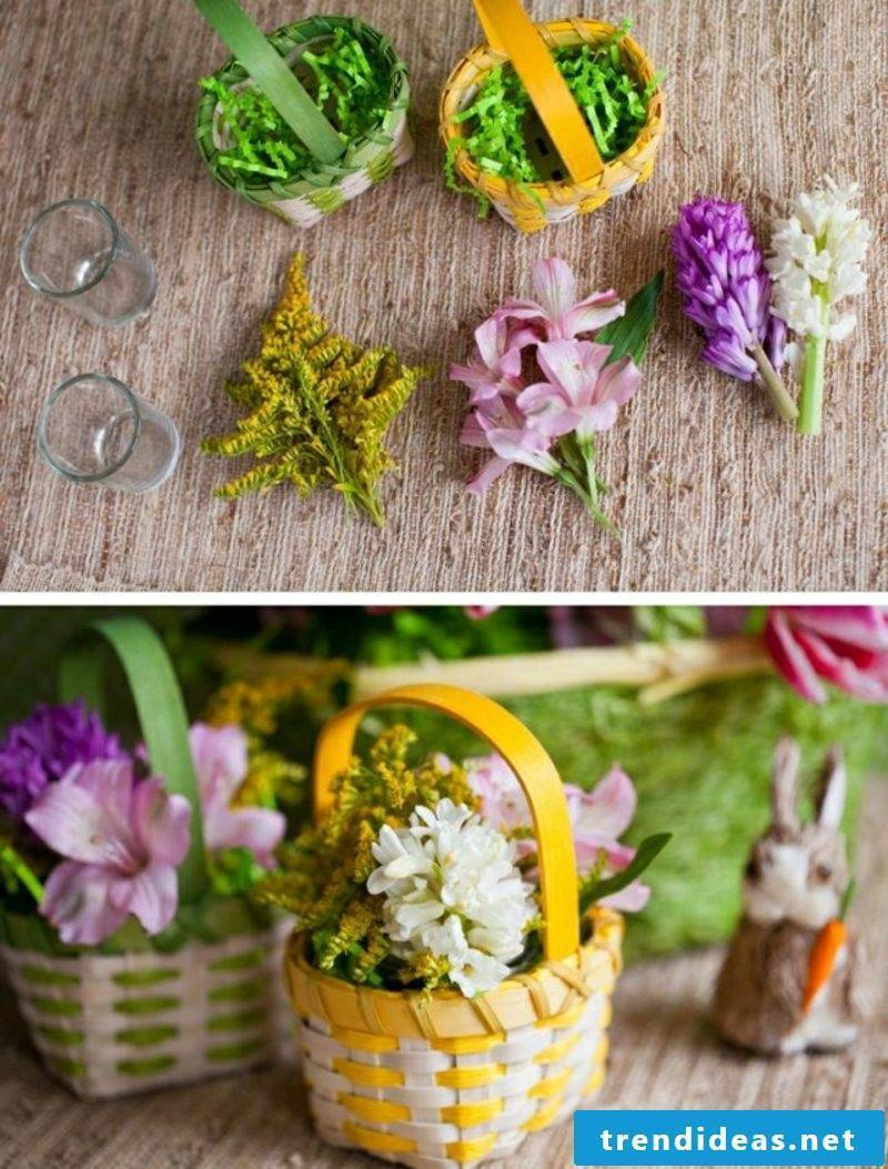 Easter decoration Basket with fresh flowers