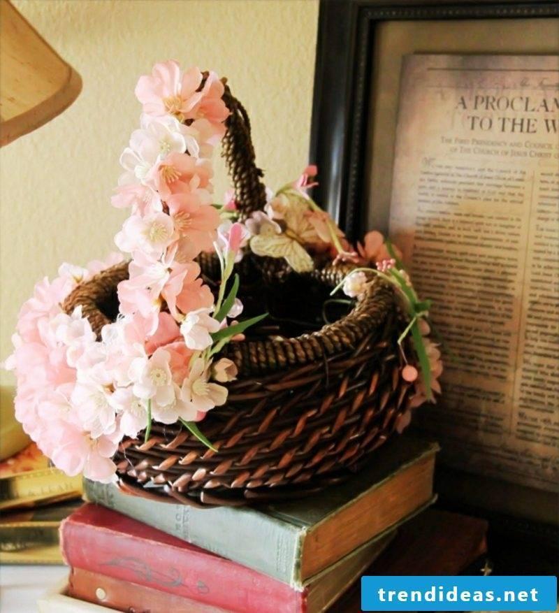 Easter decoration basket decorate flowers