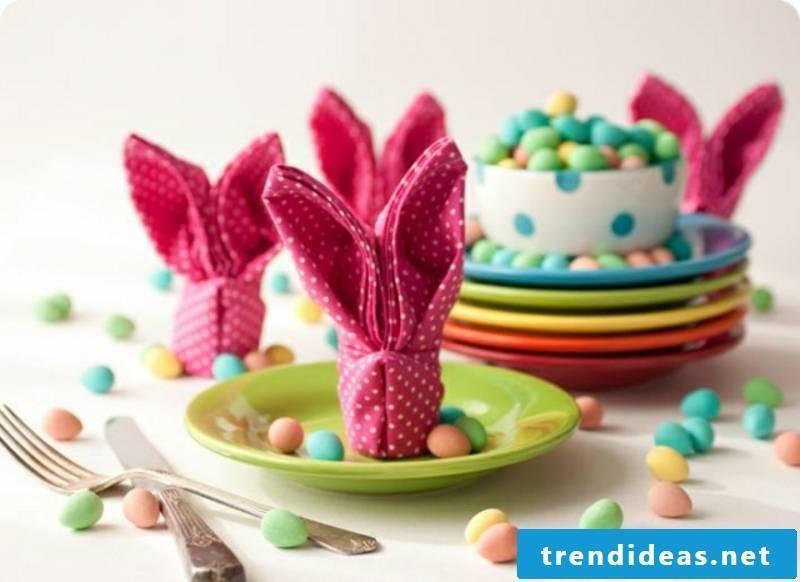 Easter decoration napkins fold