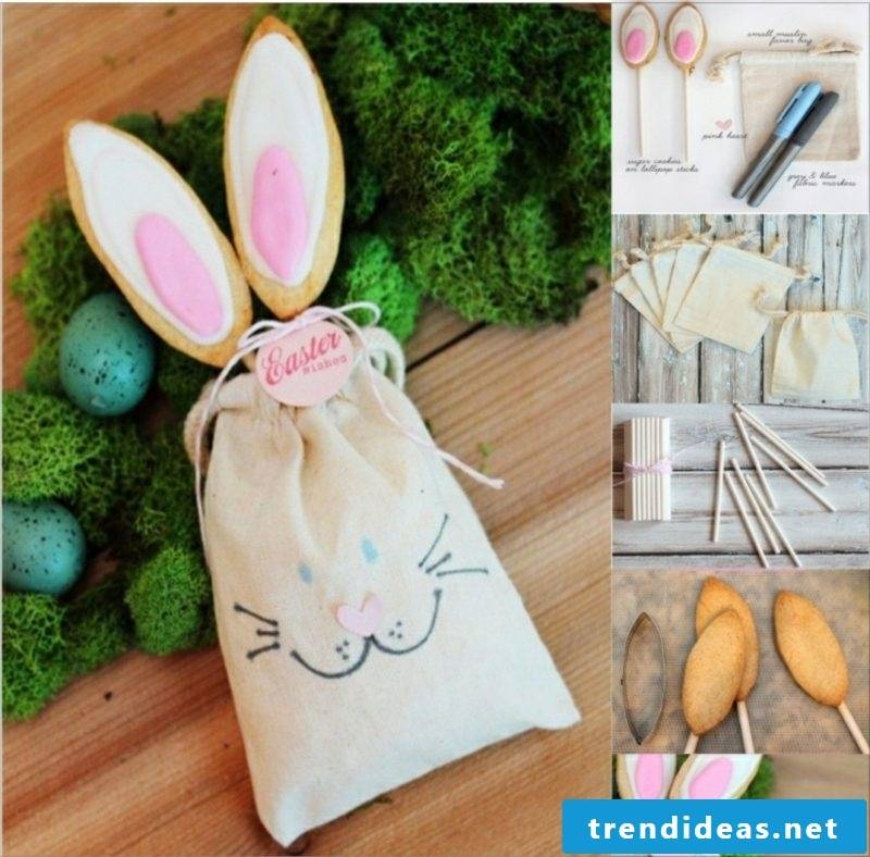 Easter presents are making bunny ears biscuits