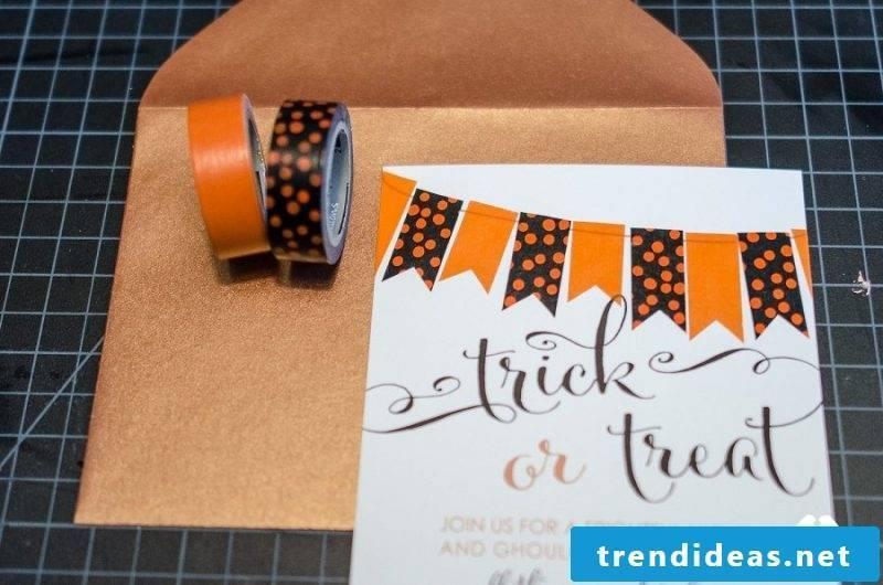 Halloween invitation with tape