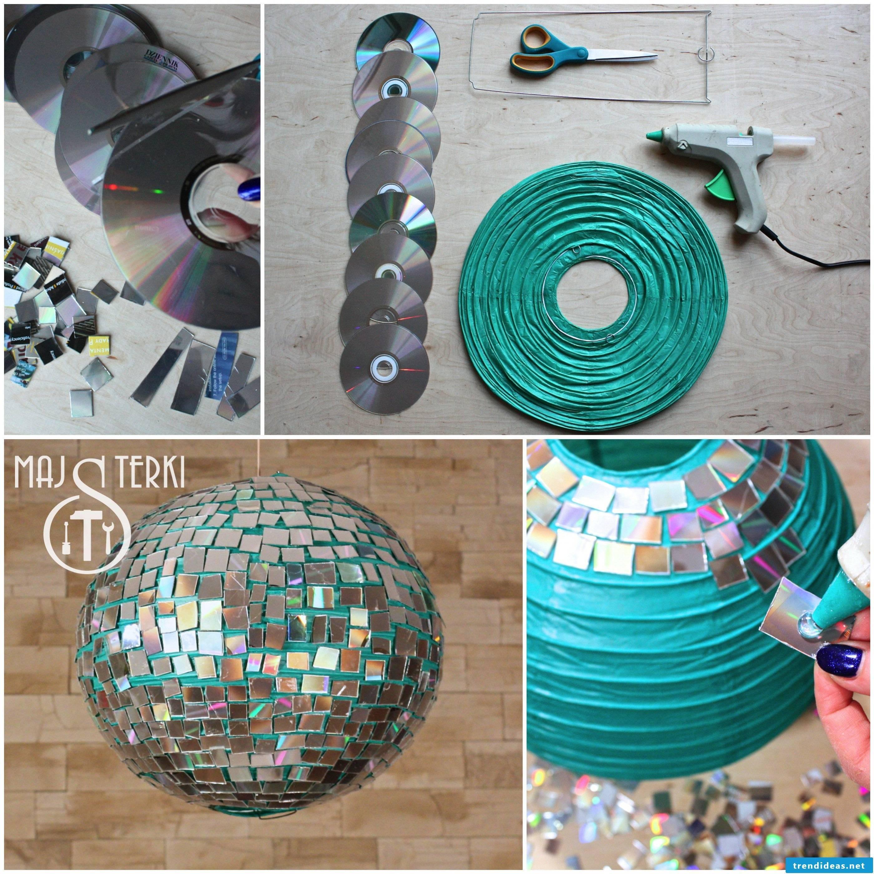Make lanterns from unused CDs