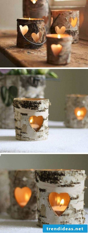 Lantern tinker with tree bark