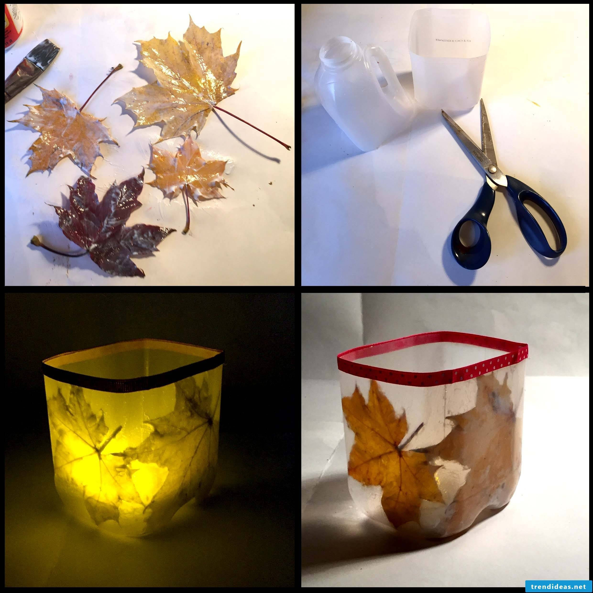 Make autumnal lantern out of canisters