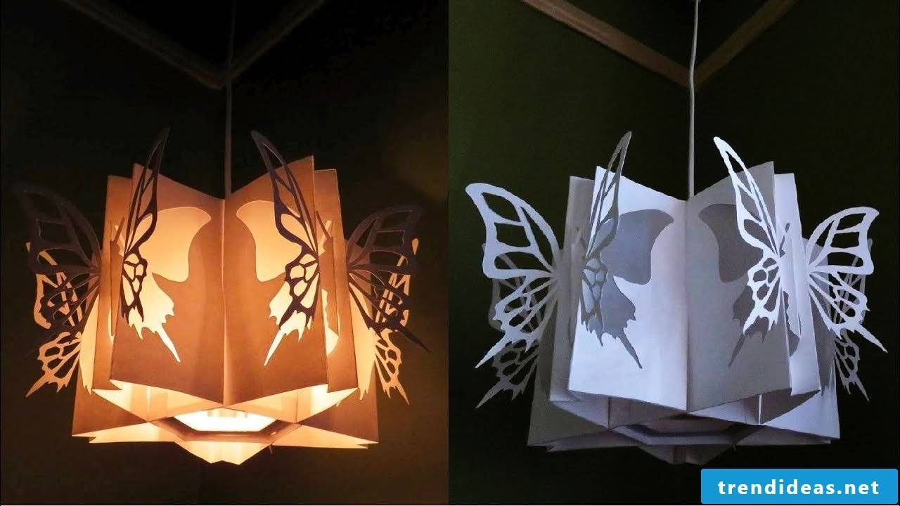 Homemade butterfly lamp made of paper
