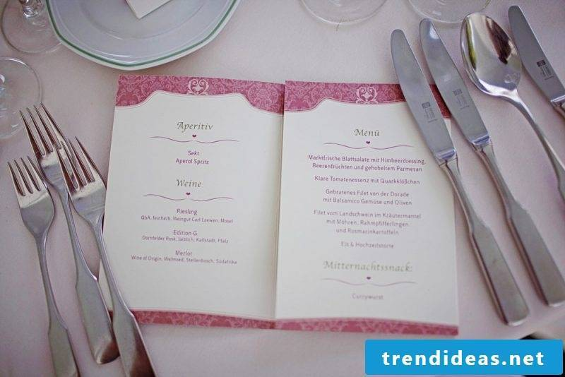 wedding cards crafty subtle menu card with pink undertone on white paper