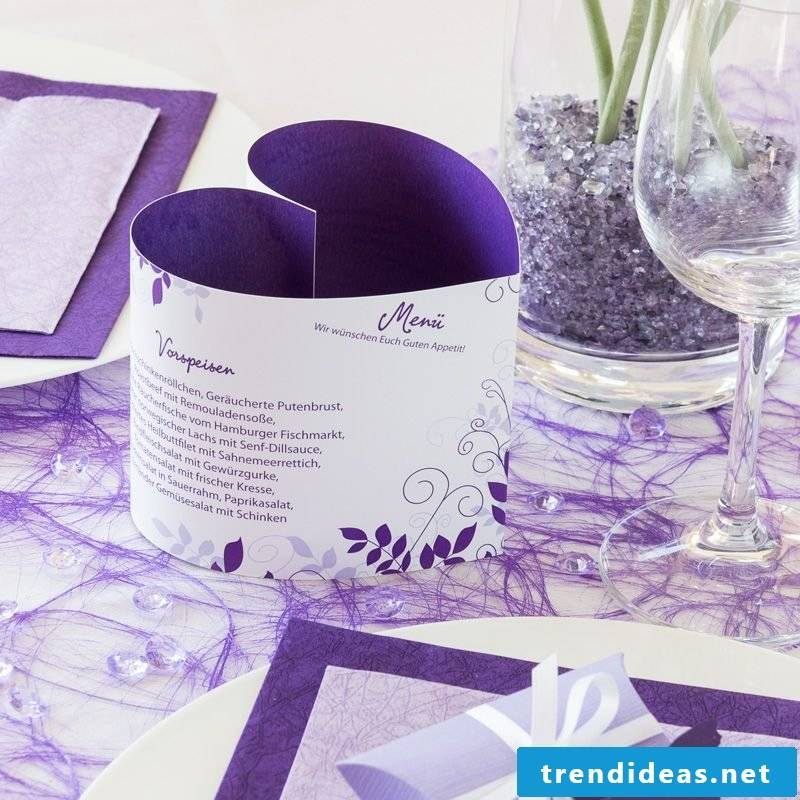 wedding cards tinker purple menu card in the form of a heart