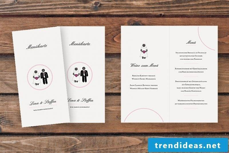 wedding cards, tinker menu card on white paper with bride and groom