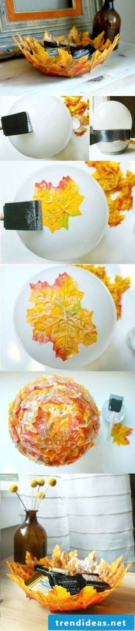 Table decoration autumn - making autumn leaves