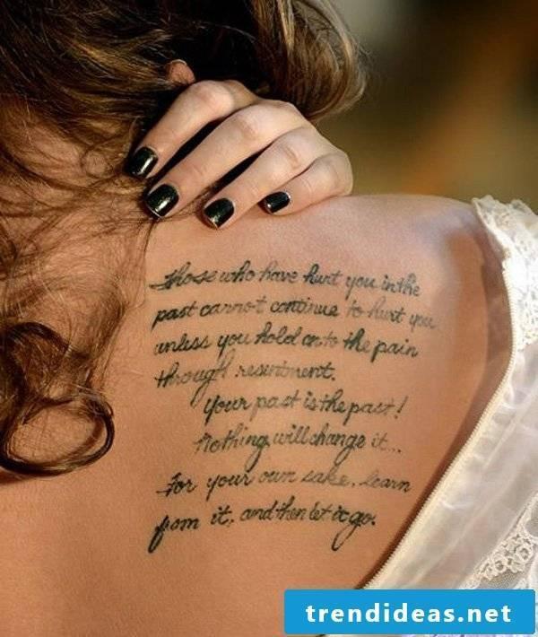 tattoo writing tattoo saying shoulder
