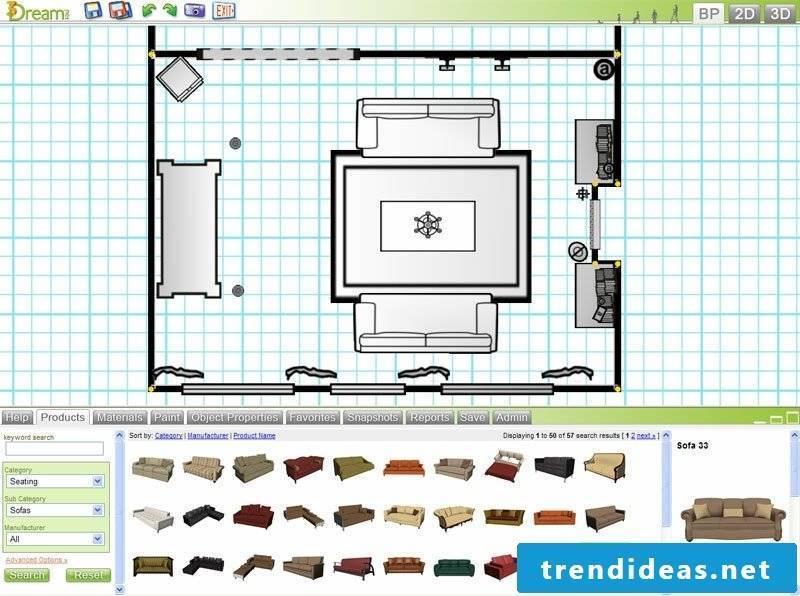 3D room designer Design My Room Interface