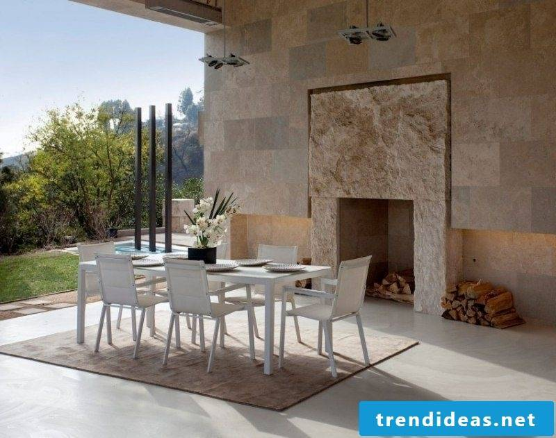 Wall covering dining travertine tiles