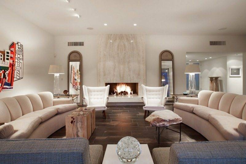 Design of the living room with travertine tiles