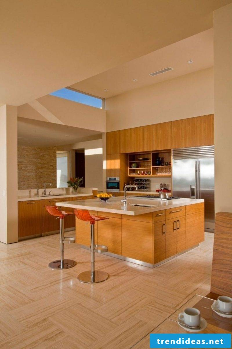 Kitchen travertine tiles as flooring
