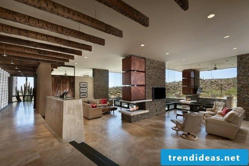 Living room flooring travertine tiles