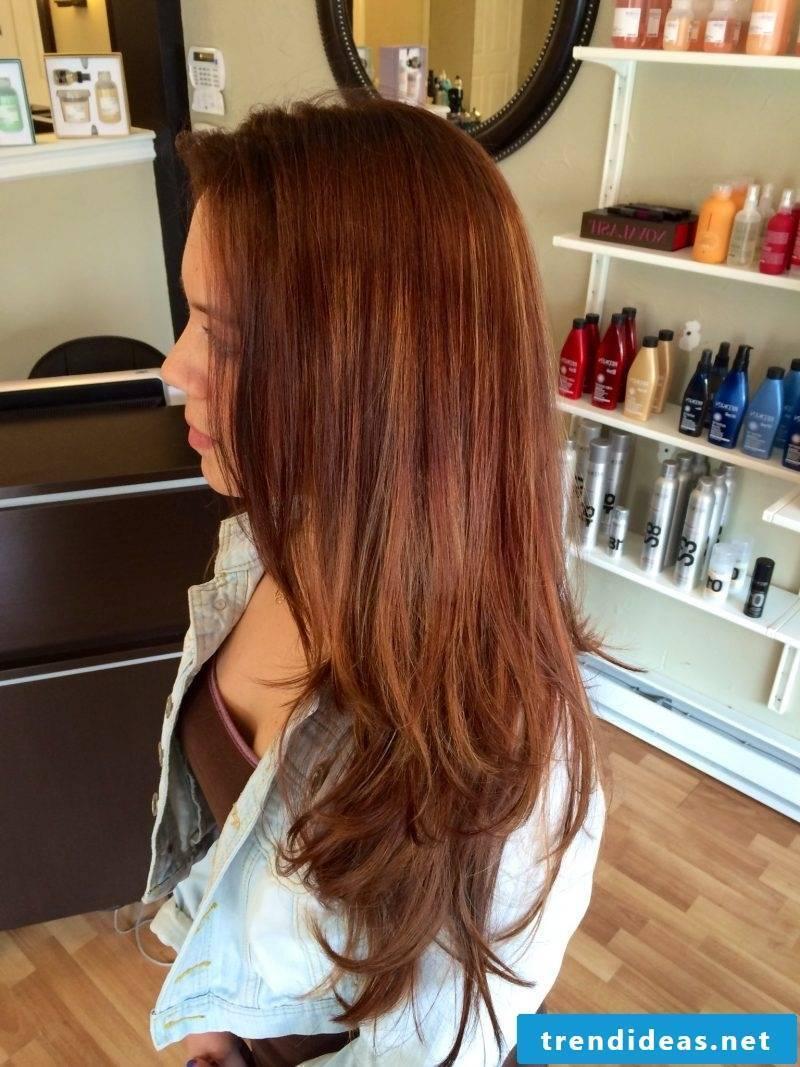 Copper brown hair color long hair