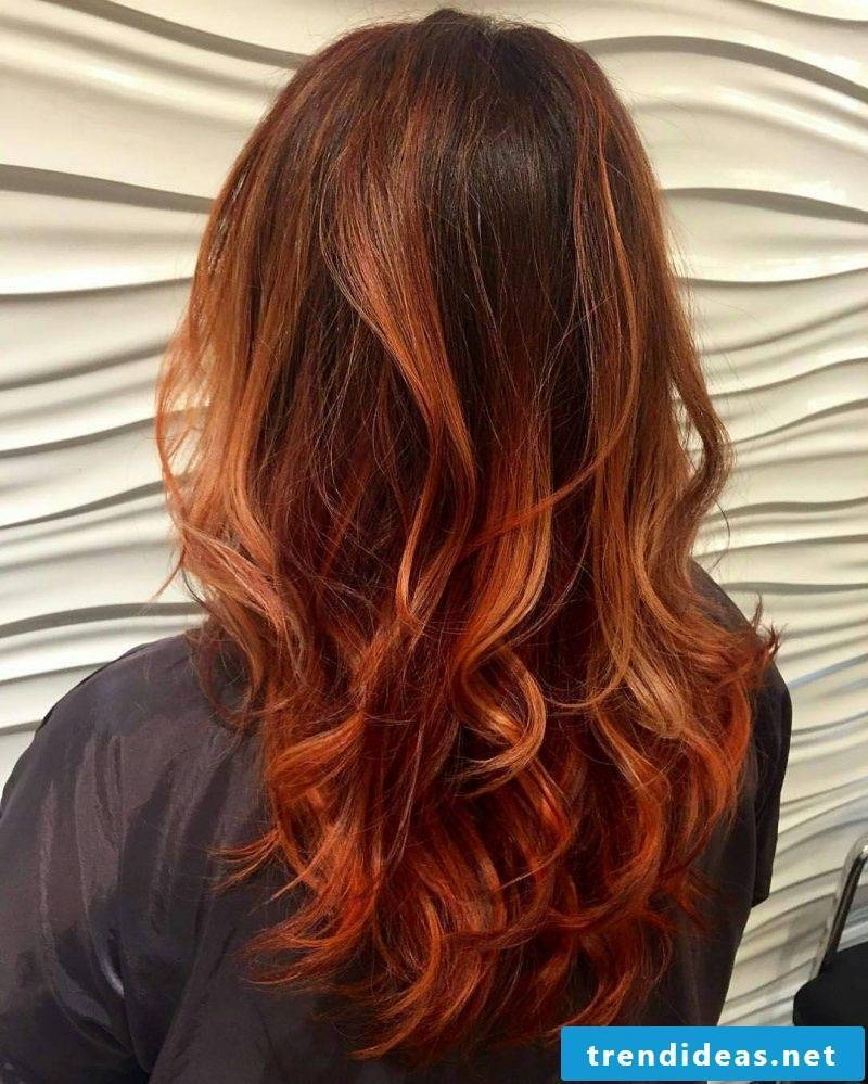 Copper brown hair color Ombre