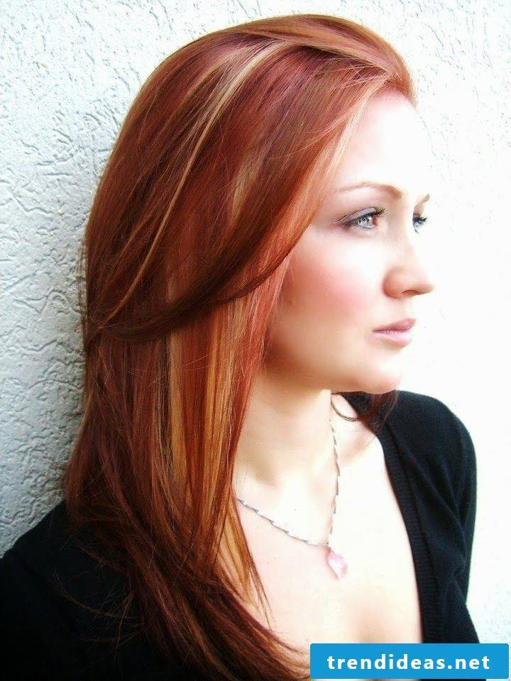 Copper brown hair color with blond