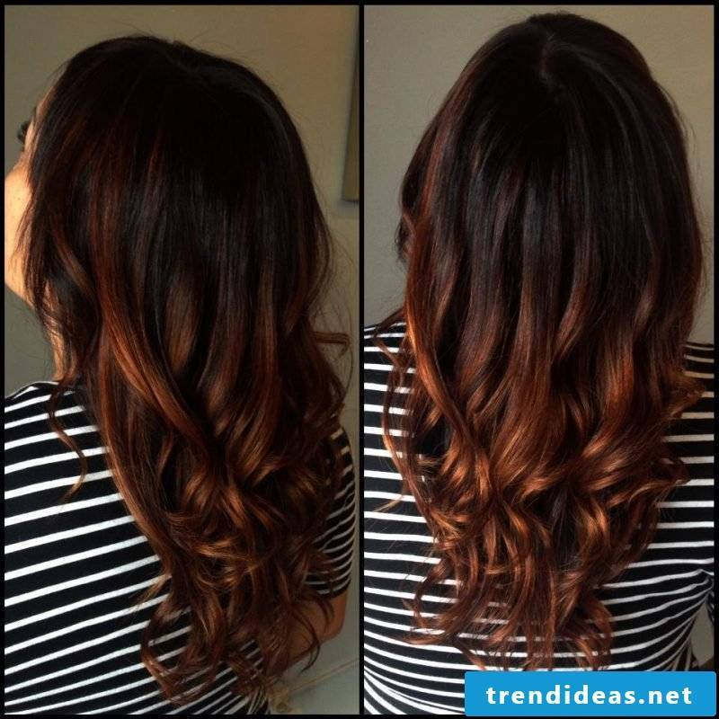 Copper brown hair color Ombre with dark