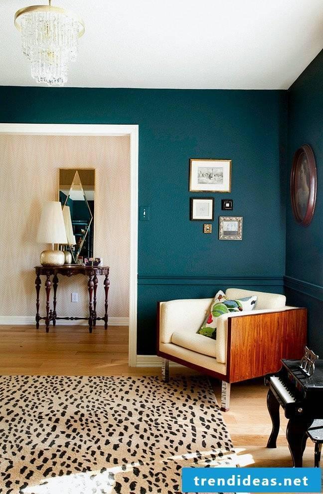 Petrol color bedroom green wall color