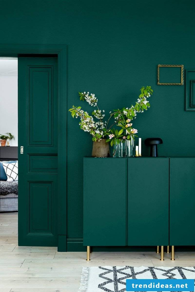 Petrol color looks inviting in the hallway