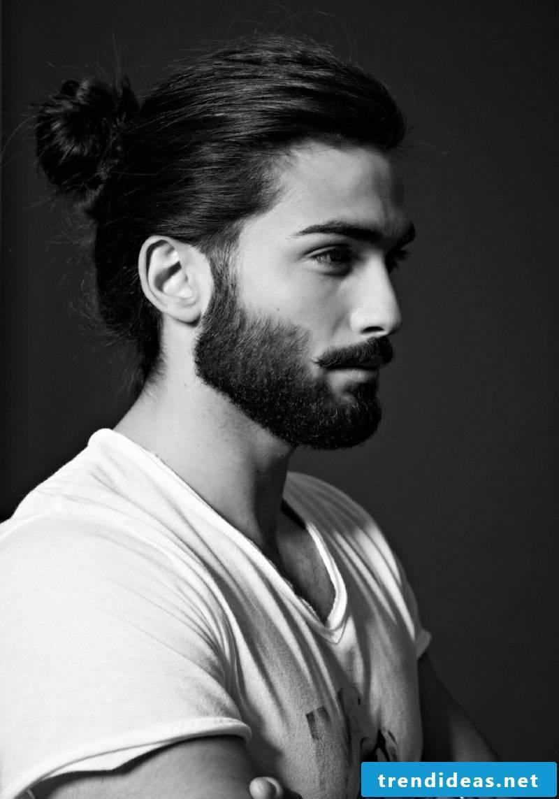 Men's Hairstyles for 2015 Long Hair Man Bun Beard