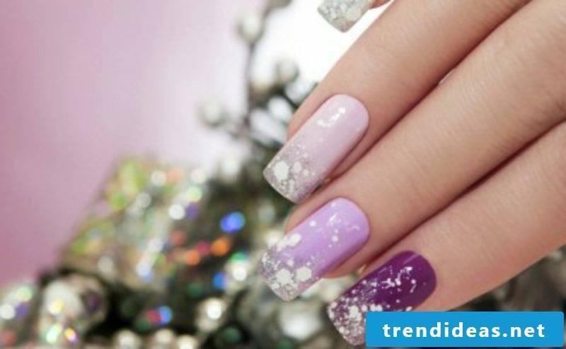Nail art design for christmas pink purple