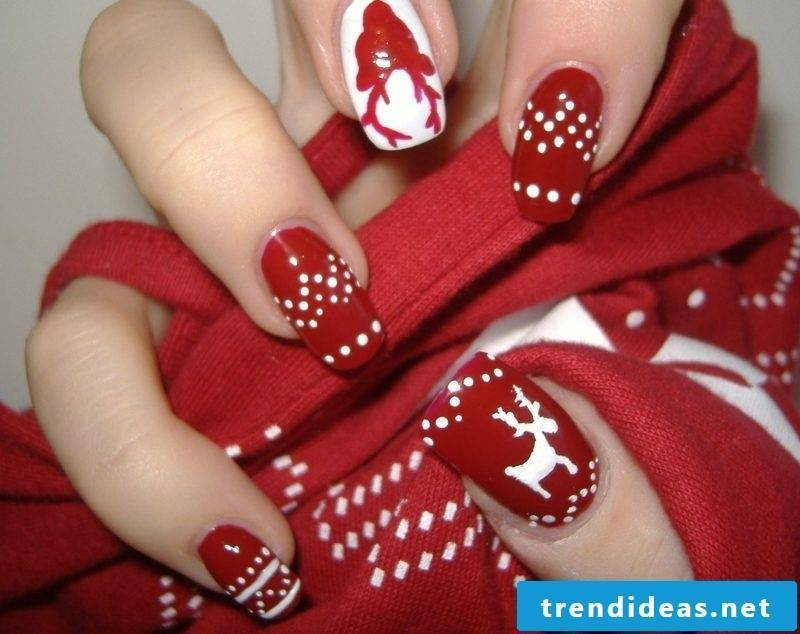 Red nail design for Christmas