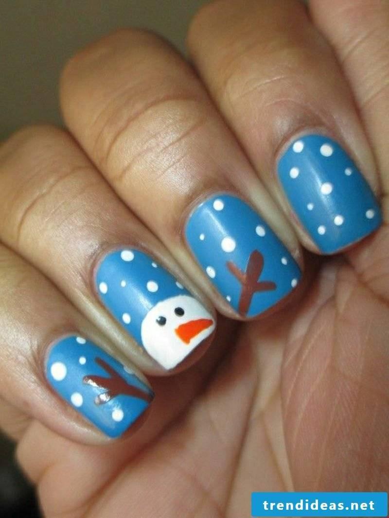 Blue nail art design for Christmas