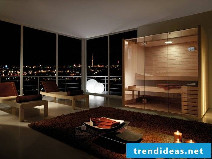 sauna-to-home-in-living room-nice-promising-on-the-city-at-night carpet-table-candle