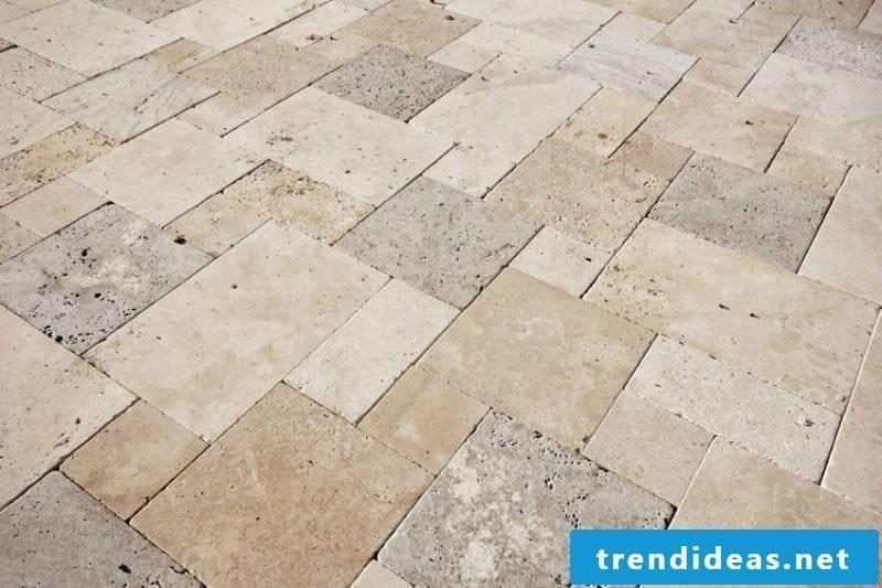 Tile laying pattern natural stones