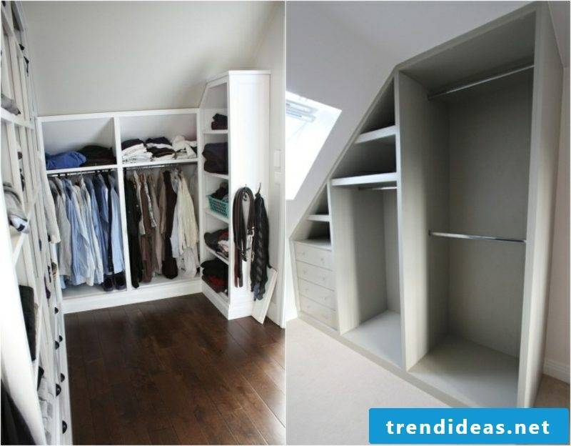 walk-in closet under sloping roof open shelves