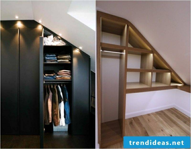 walk-in closet with recessed lights under sloping roof