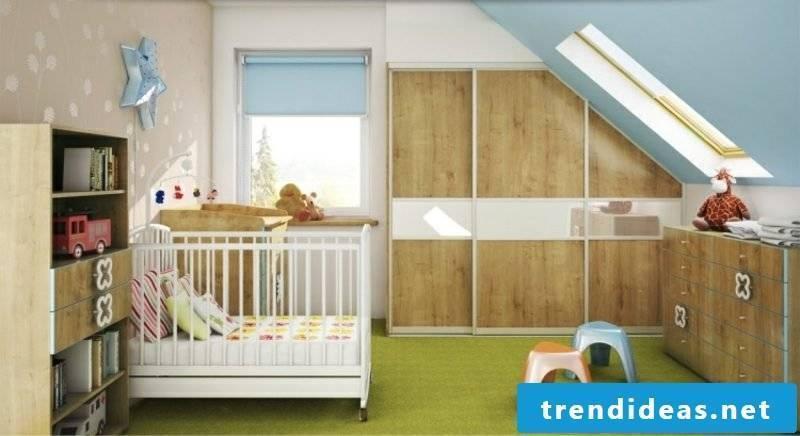 Children's room with sloping roof original walk-in closet