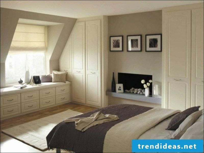 Bedroom wardrobe under sloping roof modern design