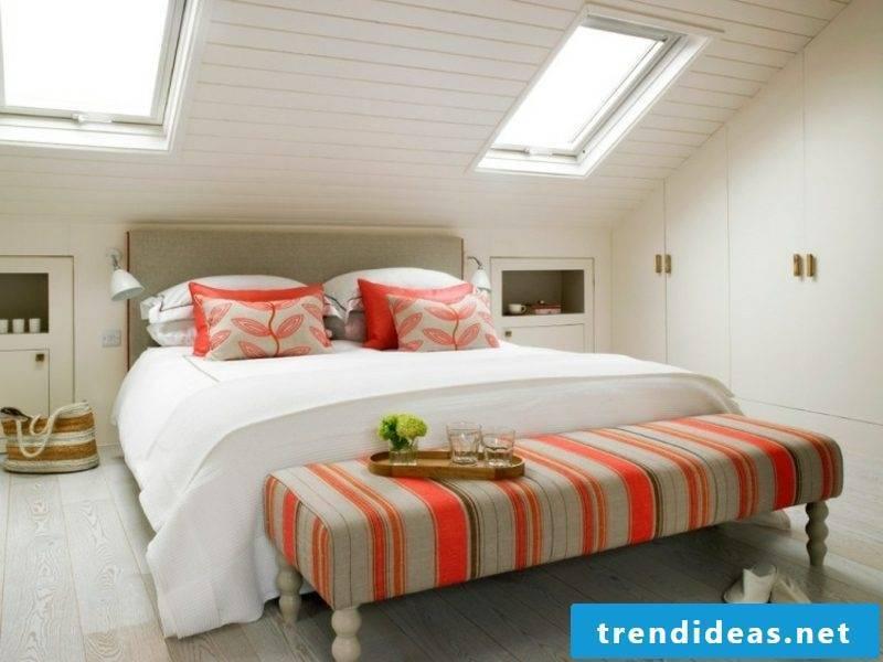 walk-in closet under the roof in the bedroom