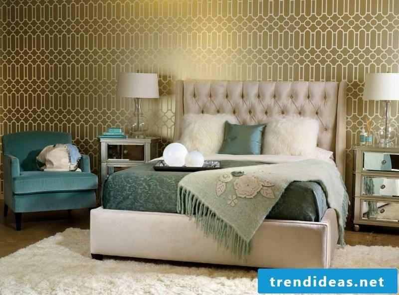 wall design bedroom ideas green golden accents home