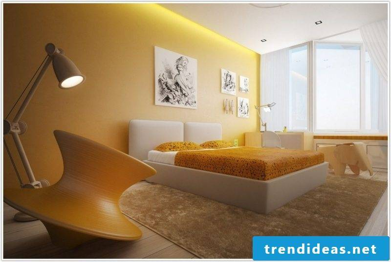 wall design bedroom ideas yellow wall paint small living space ideas